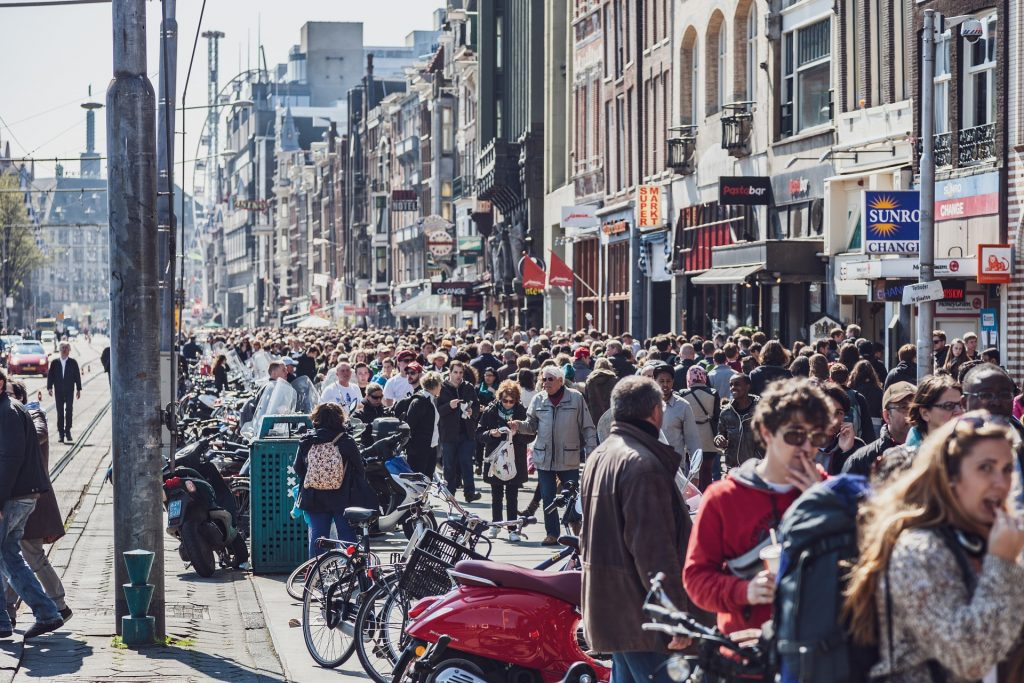 Amsterdam Damrak can be crowded.
