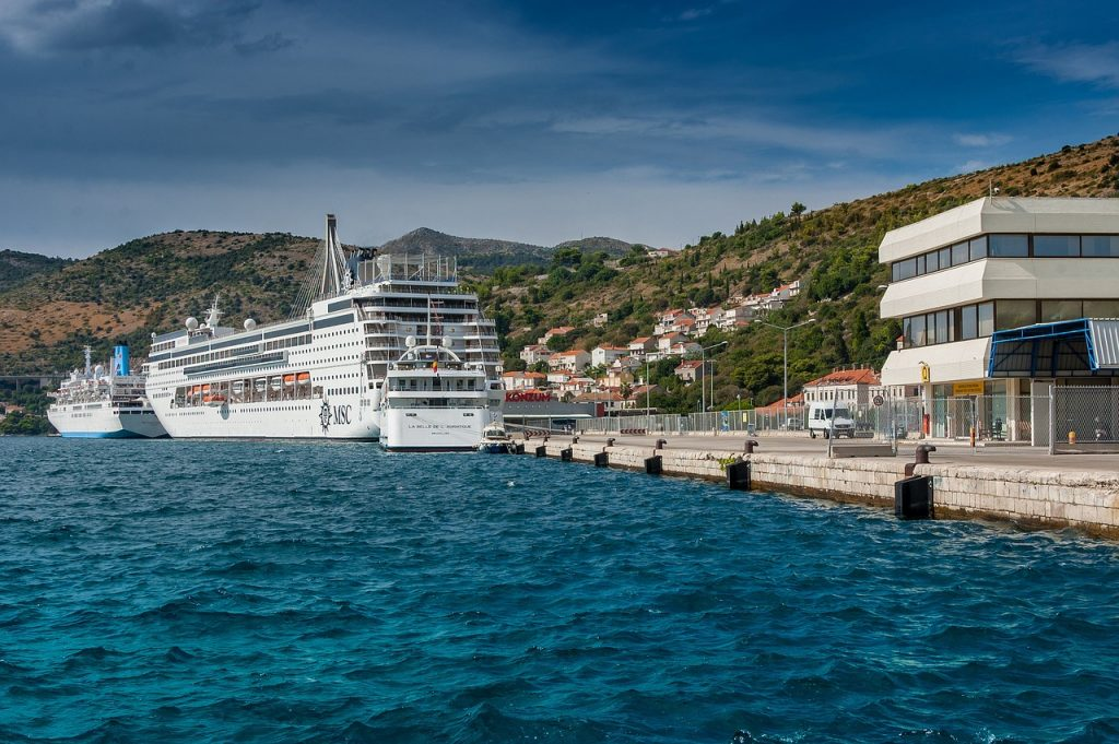 Cruise ship docked in Dubrvnik