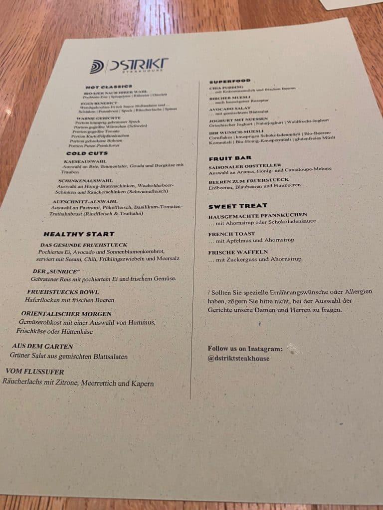 Breakfast menu Ritz Carlton